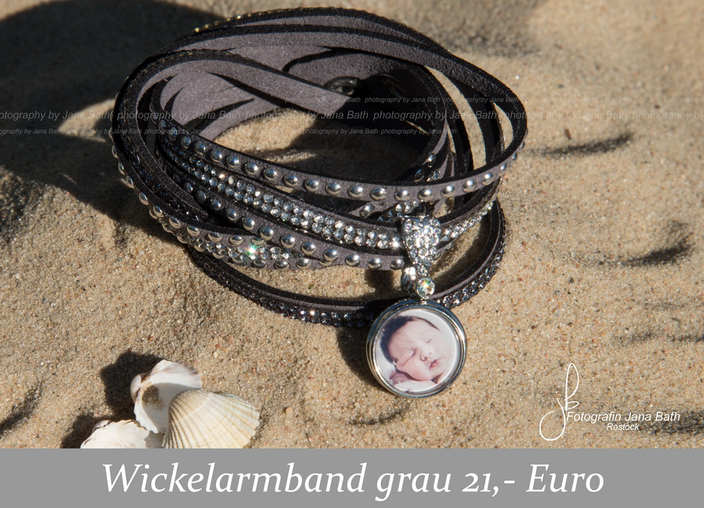 Fotoschmuck aus dem Fotostudio Jana Bath – Wickelarmand grau, personalisiert