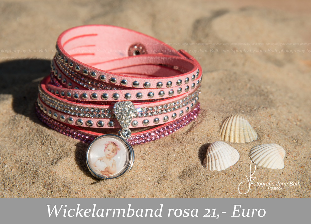 Fotoschmuck aus dem Fotostudio Jana Bath - Wickelarmand rosa, personalisiert