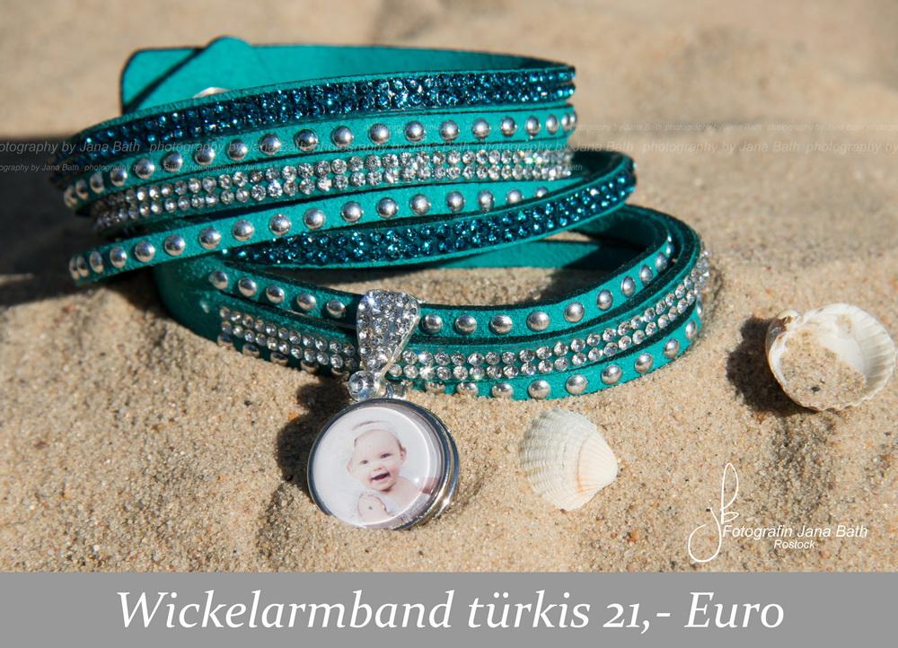Fotoschmuck aus dem Fotostudio Jana Bath – Wickelarmand türkis, personalisiert